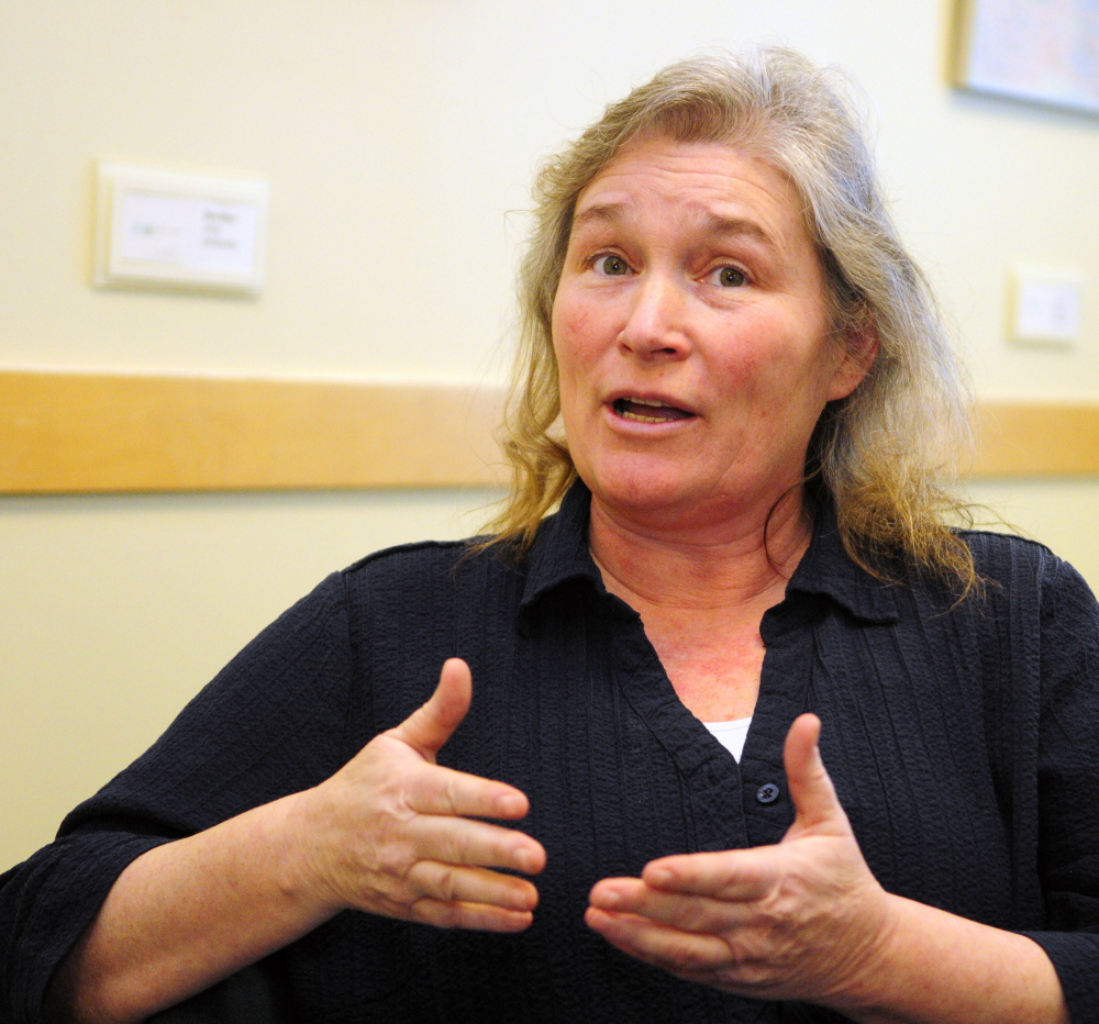 Laura Fisher, president of the union that represents Riverview Psychiatric Center mental health workers, responds to a question in an interview Tuesday at the Cross State Office Building in Augusta. She said the hospital needs more mental health workers than are in the 2016-17 budget.