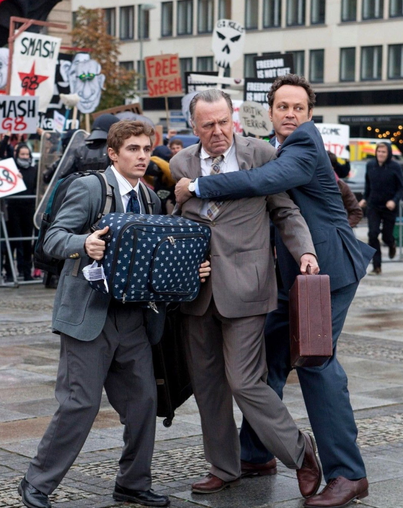 "(L-r) Vince Vaughn, Tom Wilkinson and Dave Franco in ""Unfinished Business."" Illustrates FILM-UNFINISHED (category e), by Michael O'Sullivan © 2015, The Washington Post. Moved Thursday, March 5, 2015. (MUST CREDIT: Jessica Miglio/Twentieth Century Fox.)"