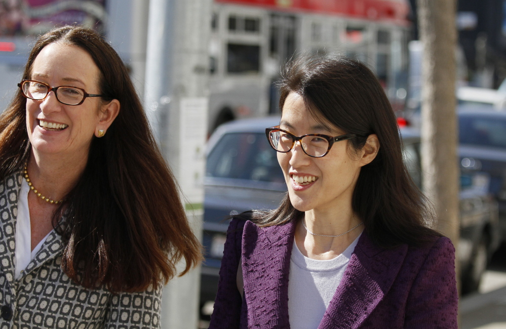 Ellen Pao, right, and her attorney, Therese Lawless. The firm says it repeatedly noted in job evaluations that Pao didn't get along with people.