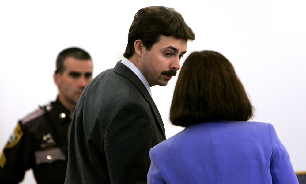 """William """"Billy"""" Flynn Flynn, center, talks to his attorney Cathy Green at Rockingham Superior Court in Brentwood, N.H. in 2008. His trial created a media circus and inspired a film."""