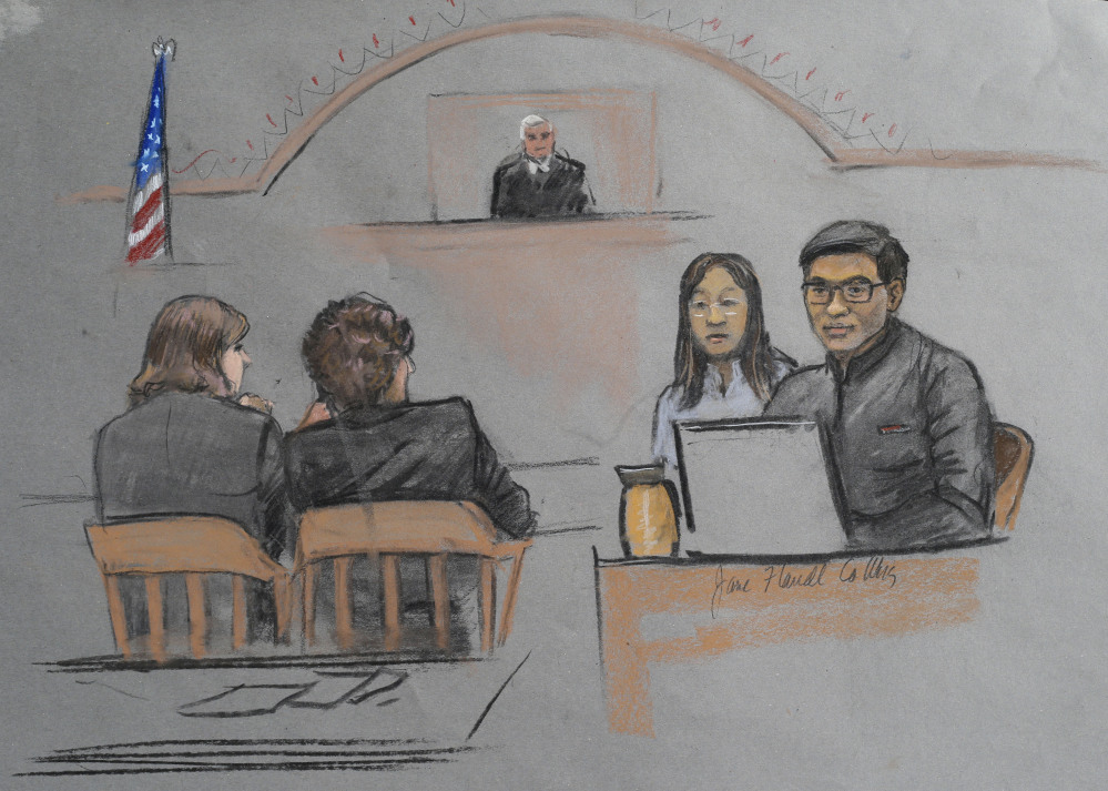 "In this courtroom sketch, Dun Meng, far right, testifies with a translator at his side during the trial of Boston Marathon bombing suspect Dzhokhar Tsarnaev in Boston on Thursday. Meng described his harrowing ride at gunpoint with the Boston Marathon bombers and the moment he made ""the most difficult decision"" of his life, to bolt from the car."