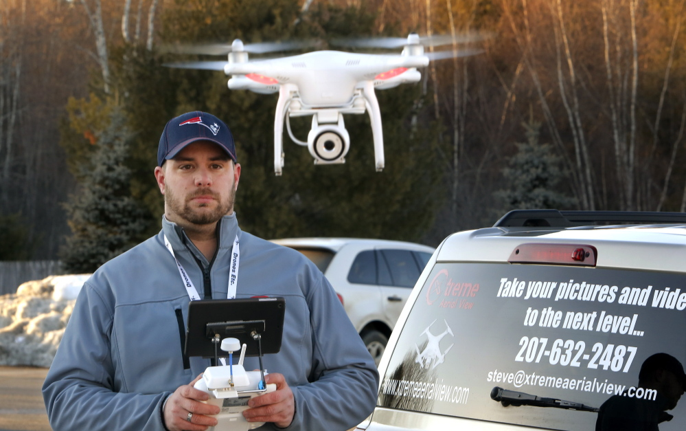 "Steve Girard takes aerial photos and videos using his drone. The Gorham man received a voice mail from a local FAA administrator ordering him to ""pull down"" his website about his service, and threatening ""fines and penalties for this activity."""