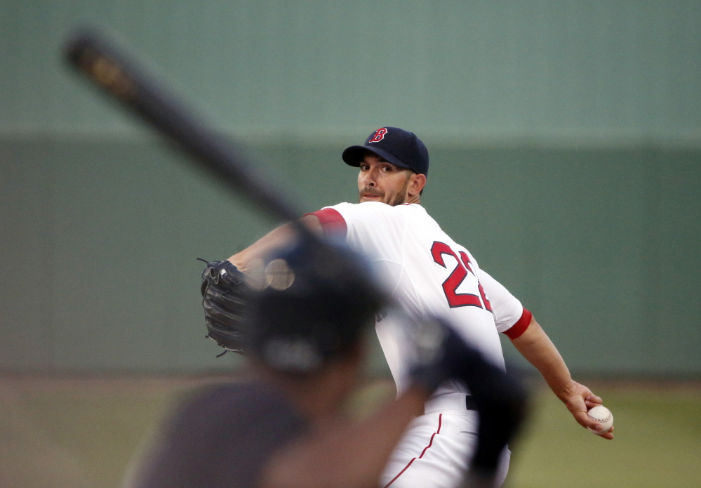 Boston Red Sox starter Rick Porcello pitched three shutout innings before allowing a pair of singles in the fourth inning, which ended his night, in a 5-3 loss to the Yankees in Fort Myers, Florida.