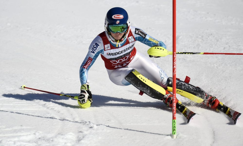 Mikaela Shiffrin of the U.S. competes in the first run during the ladies World Cup slalom in Are, Sweden, on Saturday.