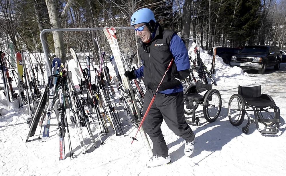 "Mike Benning, a gold medalist in the national handicapped skiing championships, is a volunteer mentor for Camp No Limits. ""Amputees speak the same language, and to be able to speak that language in a safe environment is what this is all about,"" he said."