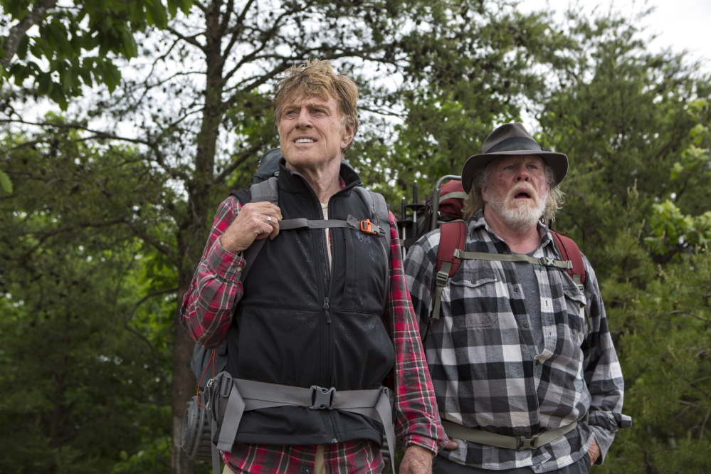"Actors Robert Redford and Nick Nolte in a scene from ""A Walk in the Woods,"" a film adaptation of a book by travel writer Bill Bryson about an unsuccessful attempt to walk the Appalachian Trail to Maine."