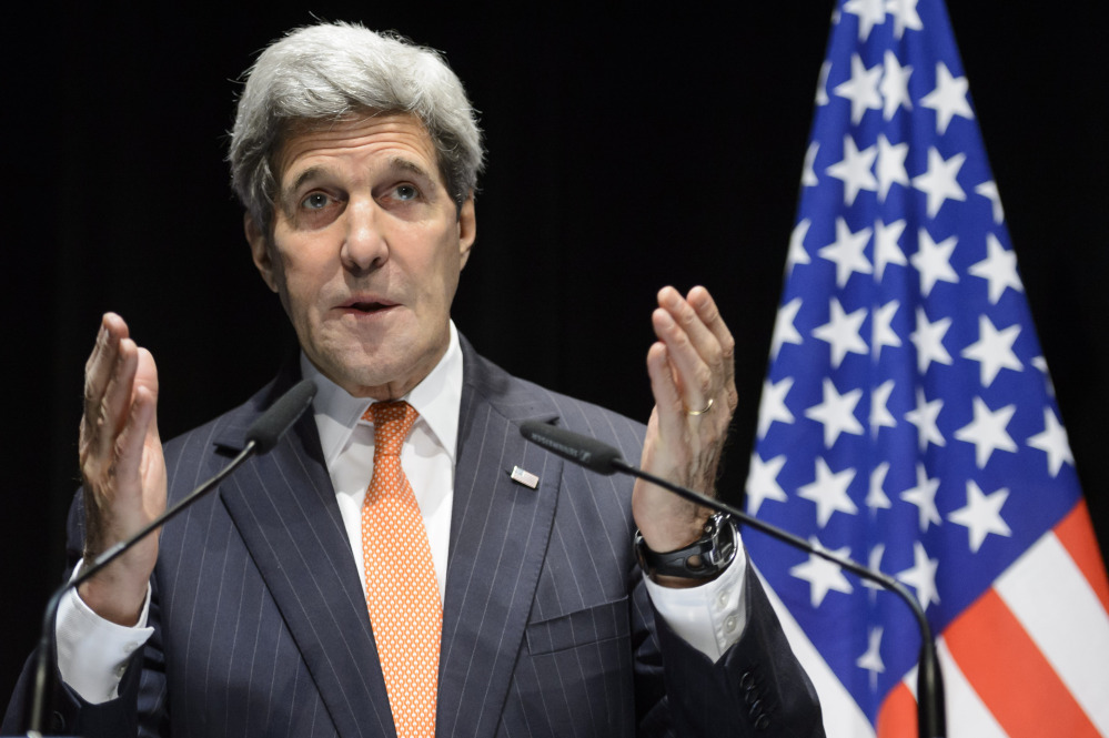 U.S. Secretary of State John Kerry speaks during a  news conference after bilateral meetings with Iranian Foreign Minister Mohammad Javad Zarif  about  Iran's nuclear program,  in Lausanne, Switzerland, on Saturday.