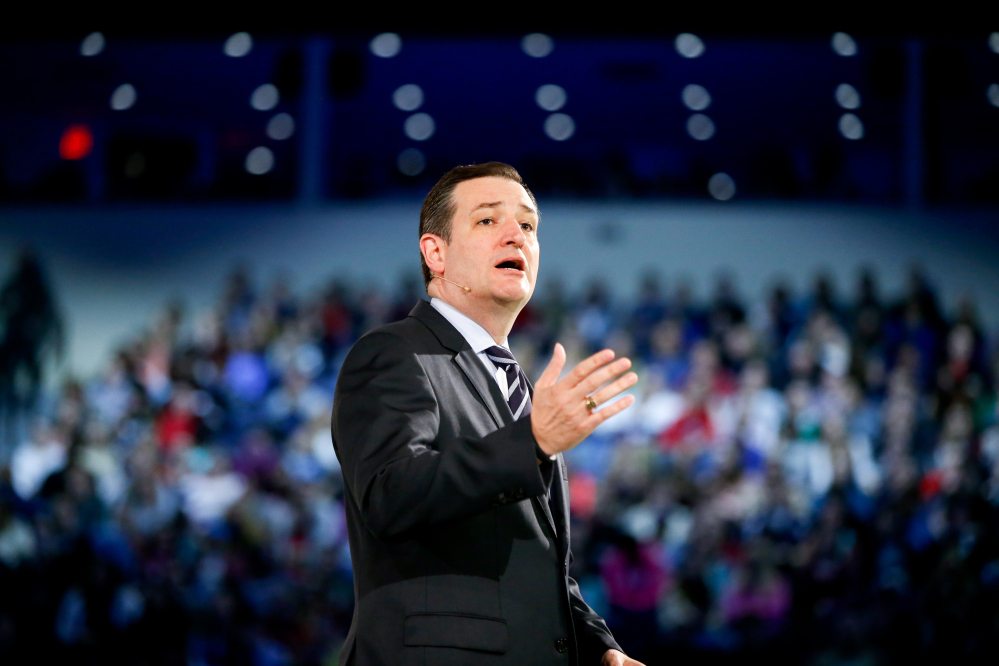 In this file photo, Sen. Ted Cruz, R-Texas speaks at Liberty University, founded by the late Rev. Jerry Falwell. The Associated Press
