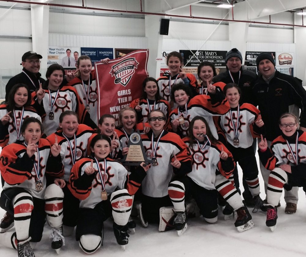 Members of the Casco Bay U-12 Girls Tier II team, from left to right: Front row: Lucia Pompeo, Hannah Woodford, Camilla Lattanzi, Emma Merrill, Caroline Grant, Abbey Matusovich, Abbey Agrodnia and Beth Goodrich; middle row: Calynn Gendreau, Rylie McIntyre, Caroline Lerch and Kerry Roberts; back row: Coach Scott Matusovich, Nicoletta Coupe, Sophie Newberg, Emma McCauley, Hannah Twombly, assistant coach David Merrill and assistant coach Mike Grant.