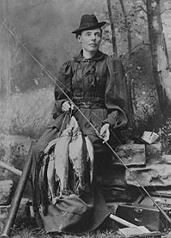 """Cornelia """"Fly Rod"""" Crosby, Maine's first licensed guide, used her syndicated column to promote wildlife conservation measures such as catch-and-release fishing and bag limits on deer, salmon and trout."""