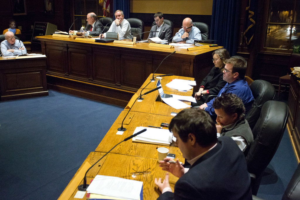 The City Council's The Public Safety Health and Human Services Committee discusses recommended changes to the city's housing inspection program during its meeting Tuesday night. The committee took no vote on the issue. Gabe Souza/Staff Photographer