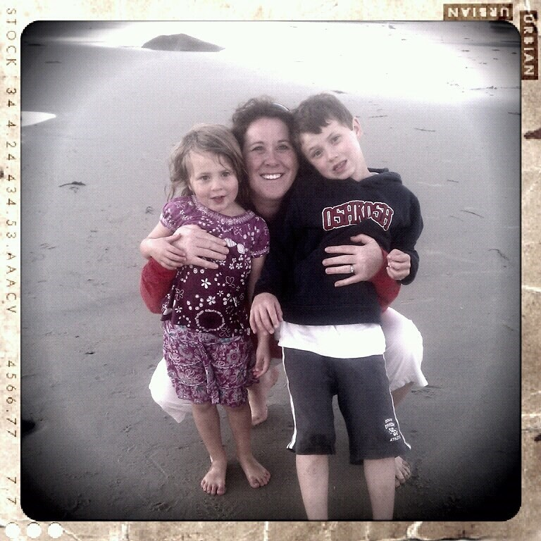 Amy Harris is shown with her children, Abigail and Lucas, who were injured in the crash.