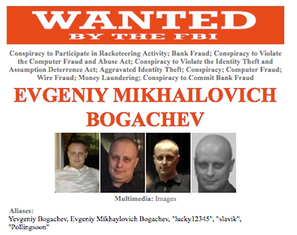 This image provided by the FBI shows a detail of the wanted poster for alleged cyber criminal Evgeniy Bogachev. The Associated Press