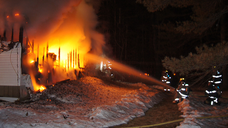 The early morning fire completely destroyed the mobile home.