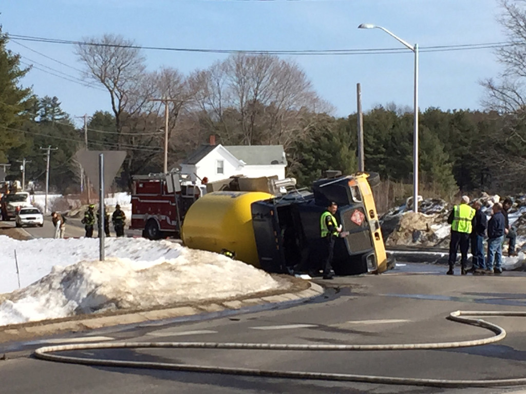 A propane truck that tipped over blocks the intersection of New Portland Road and Libby Avenue on Tuesday afternoon.