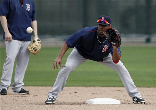 Red Sox shortstop Xander Bogaerts prepares to field a ground ball during infielder drills in Fort Myers Fla., on Feb. 23. On Sunday, Bogaerts homered and drove in four runs in the Red Sox win over the New York Mets. The Associated Press