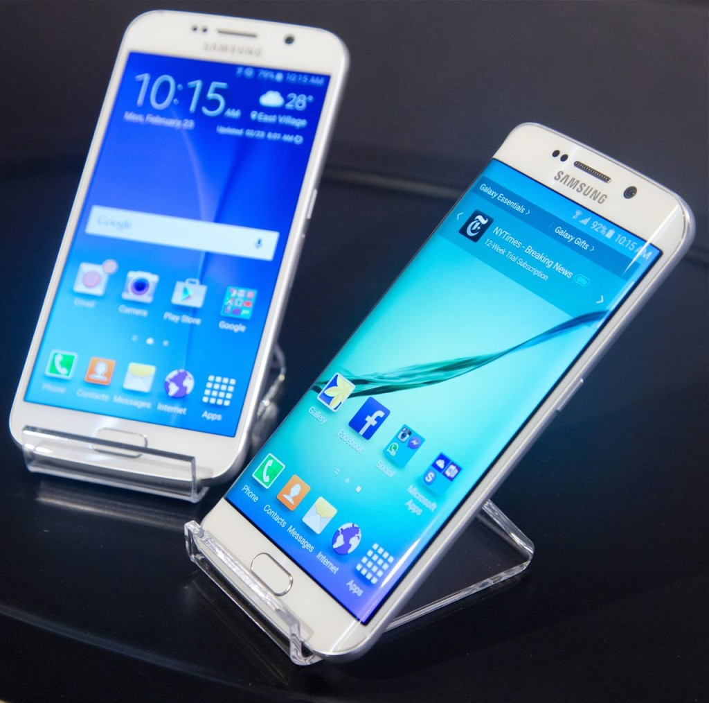 Samsung's new phones, the Galaxy S6, left, and Galaxy S6 Edge. The Associated Press