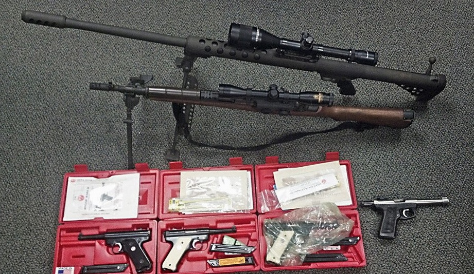 Firearms seized in the investigation of an alleged guns-for-drugs operation in York County. Photo courtesy of Maine State Police