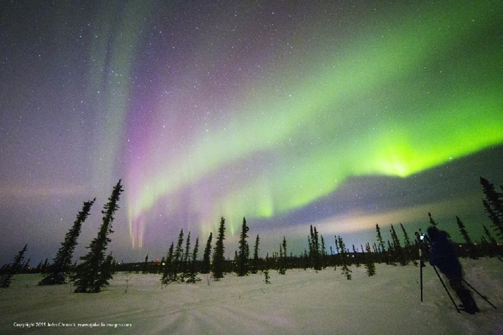 The aurora in Fairbanks, Alaska, on Monday night. Washington Post / John Chumack via spaceweather.com
