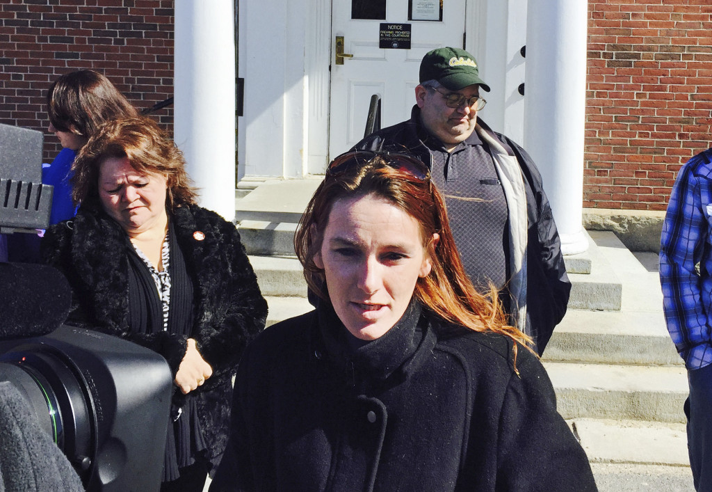 Melodie Brennan talks to the media outside York County Superior Court in Alfred on Wednesday after the sentencing of David Labonte, who killed the father of her son during a drunk driving crash in Biddeford that also injured the boy badly.