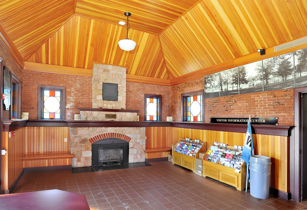 Wood ceilings and a stone fireplace add to the warmth of the interior of the Deering Oaks park castle, which until two years ago was being used as a visitor information center.