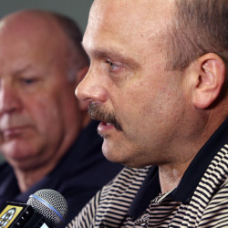 Peter Chiarelli, right, built a team that won the Stanley Cup in 2011, but the Bruins' failure to reach the playoffs this season cost him his job as general manager.