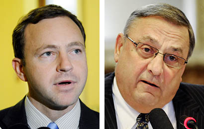 House Speaker Mark Eves, D-North Berwick, left, and Gov. Paul LePage