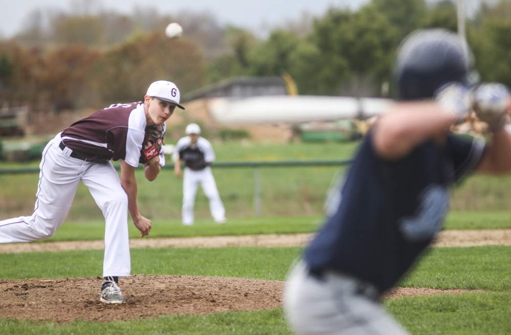 Greely's Ryan Twitchell delivers a pitch to York's Chris Nielson during the Rangers' 3-0 win on Monday afternoon at Cumberland.