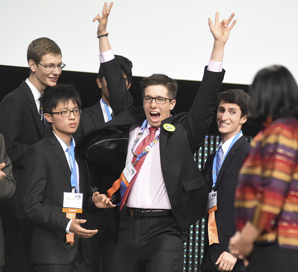 Demetri Maxim of Gould Academy, who celebrated a win in 2015 at the Intel International Science and Engineering Fair, took a first-place award for 2016 for a project that focuses on growing kidney cells from skin tissue to reduce the possibility of a kidney transplant recipient's body rejecting the donated organ.
