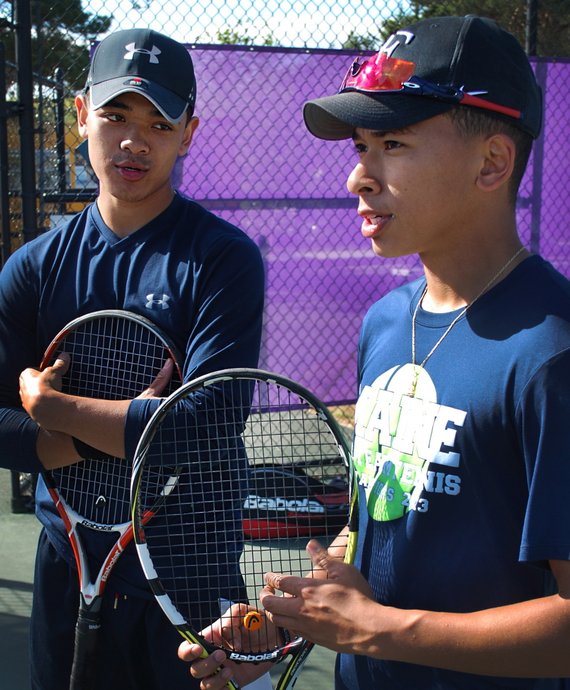 Deering seniors Jason Thach, left, and Kelvin Huynh are the top-seeded pair in Saturday's SMAA doubles tennis tournament. It might also be the last time they play together.