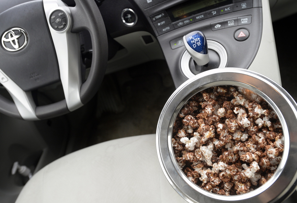 Road-trip Salted Dark Chocolate and Peanut Butter Popcorn (in a Prius, no less).