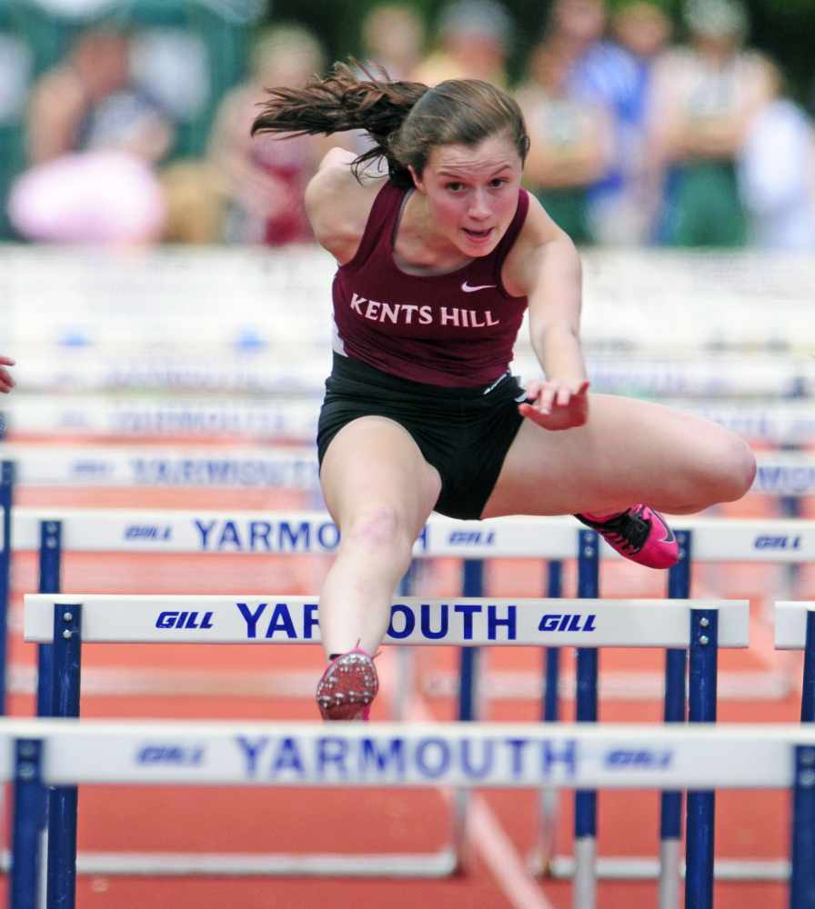 June 6: Kents Hill's Leila Alfaro clears a hurdle during the 100 hurdles. Alfaro finished third with a time of 15.99 seconds. Kylene DeSmith of Seacoast Christian won the event in 15.80, to go along with a victory in the triple jump.
