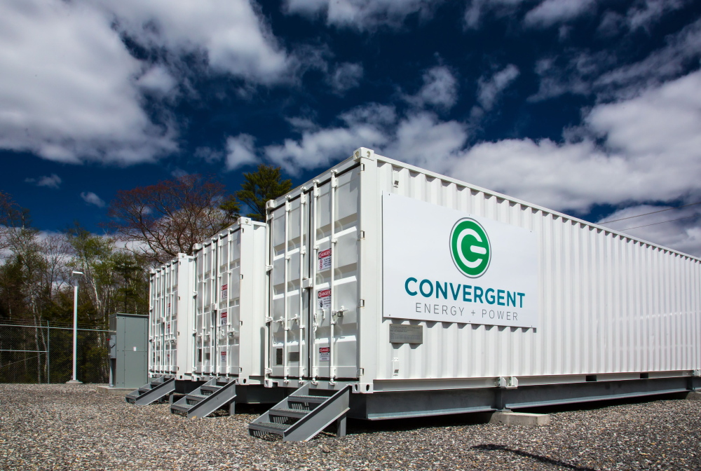 Three large shipping containers in Boothay make up New England's first utility-scale electricity storage system. Convergent Energy