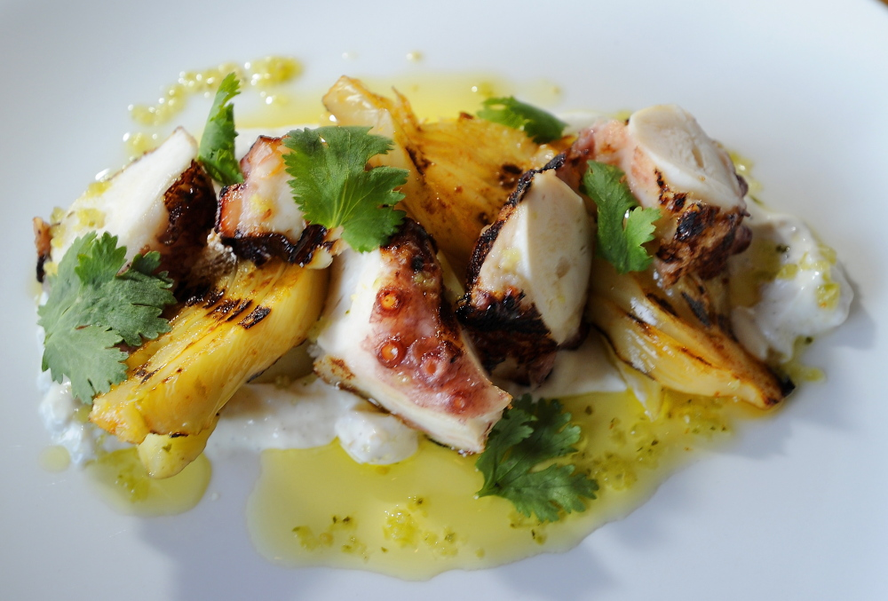 Grilled octopus with fennel, fingerlings, preserved lemon yogurt and salsa verde.