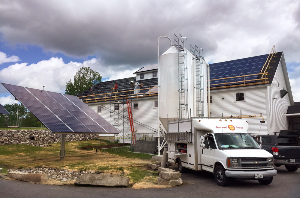 Assured Solar Energy in North Yarmouth – working with the Solarize Freeport marketing campaign – installs an array at the Maine Beer Co. in Freeport late last month.