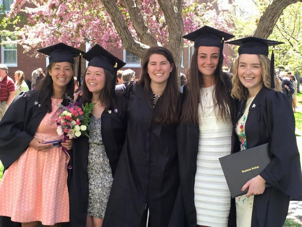Friends, from left, Molly Sun, Oriana Farnham, Callie Ferguson, Nina Underman and Emily Tucker pose together after receiving their diplomas from Bowdoin College in May.