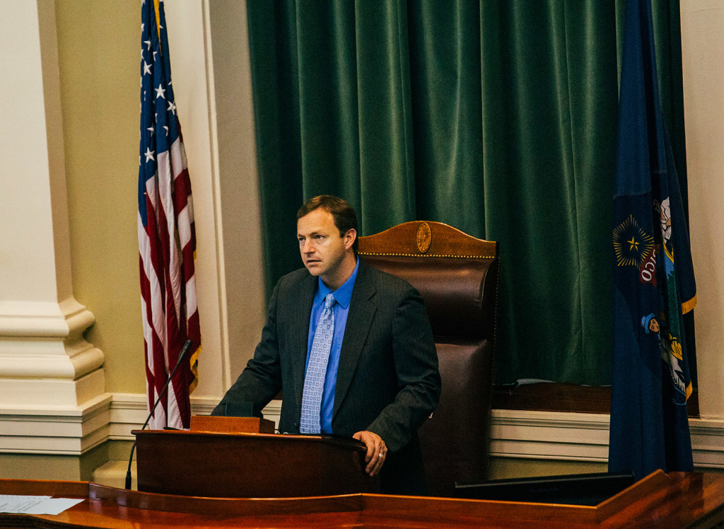 Speaker of the House Mark Eves conducts the budget override vote during a session at the State House in Augusta on Tuesday.