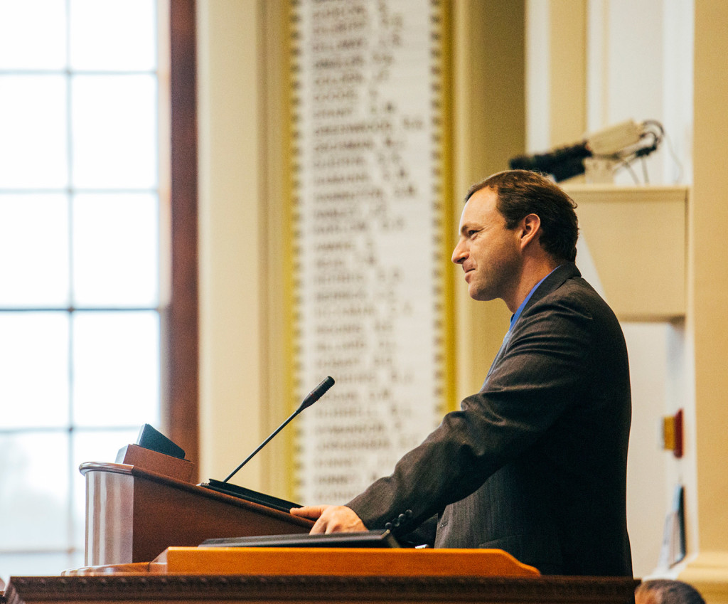 Speaker of the House Mark Eves leads Tuesday's session of the Maine House of Representatives at the State House in Augusta.