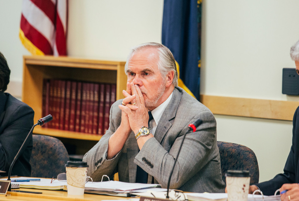 Sen. David Burns, R-Whiting, listens during Wednesday's meeting of the Legislature's Government Oversight Committee, of which he is a member, in Augusta.