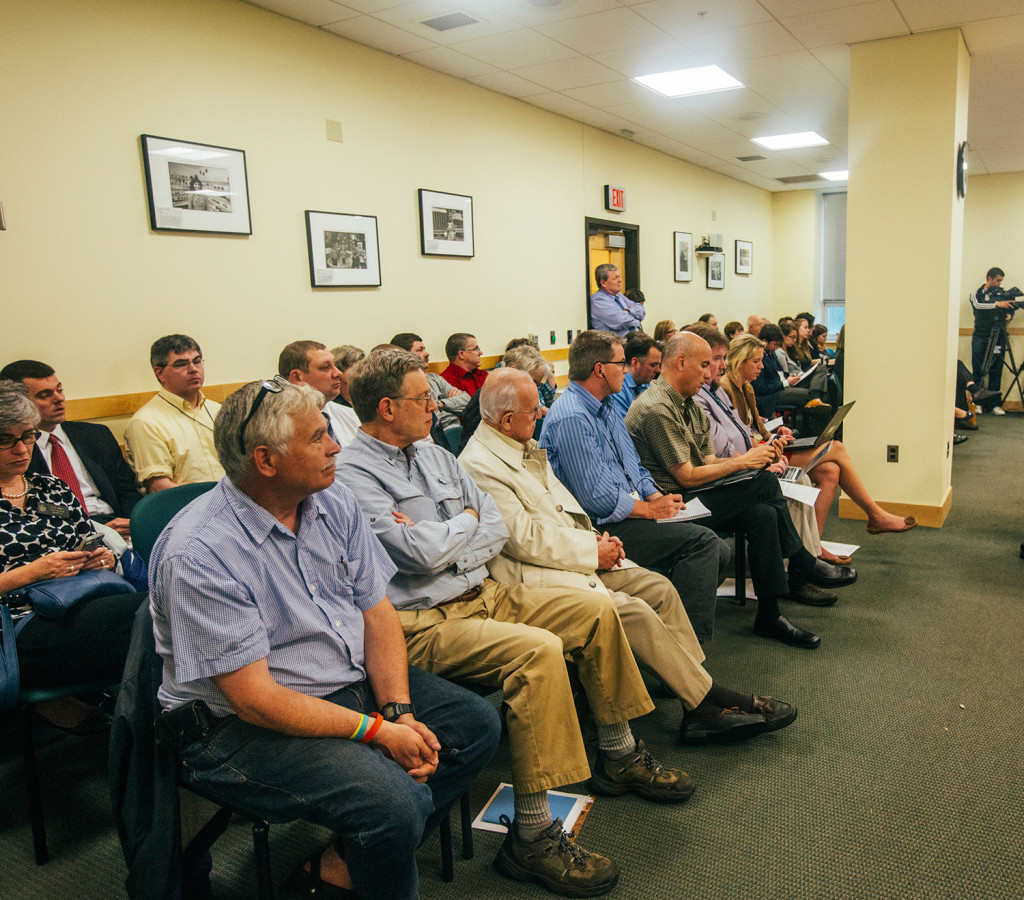 Legislators, members of the media and others listen to the proceedings of the Legislature's Government Oversight Committee in Augusta on Wednesday.