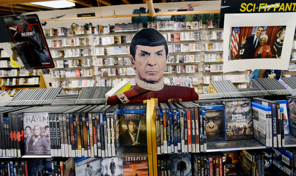 A cardboard cutout of Mr. Spock from