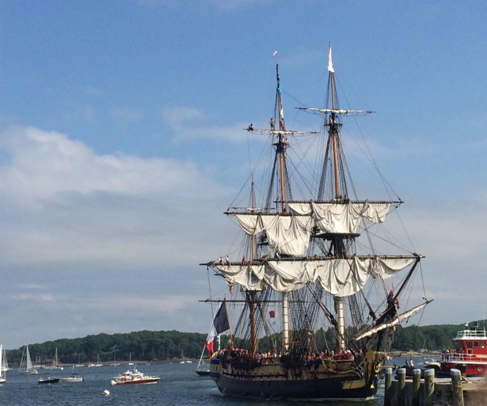 A full-size replica of the Hermione, the ship that carried the Marquis de Lafayette to America in 1780, sails into Castine on Tuesday afternoon.