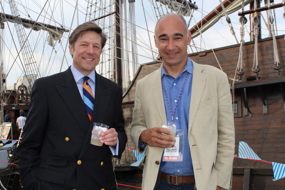Stephen Tall, representing sponsor Acadia Trust, and Willy Ritch of Tall Ships Portland.