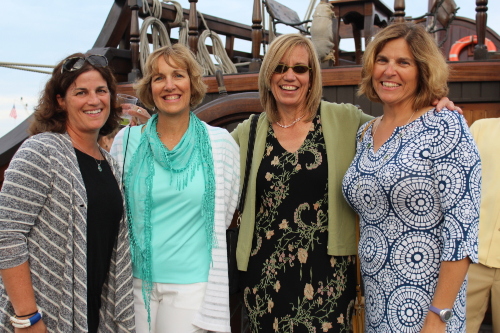 Becky Morin of Falmouth; Shelly Paules and Kim Fox, both of Portland, and SailMaine board member Meg Fenderson.