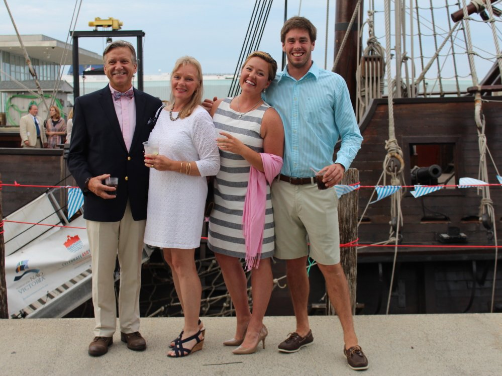 Eric Young and Trish Kinkade of Kennebunk, with sailing instructor Charlotte Kinkade and Jamie Quick of Portland. At right, South Portlanders Julie Whited and Courtney MacIsaac.