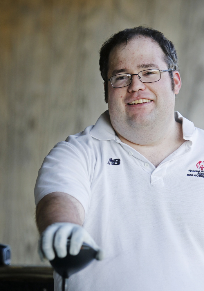 Scott Allen, 27, of Kittery, who will compete next week in the Special Olympic World Games in Los Angeles, has been playing golf at Maine Special Olympic events for 20 years.