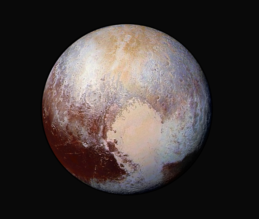 NASA photo of Pluto shows a combination of images captured by the New Horizons spacecraft.