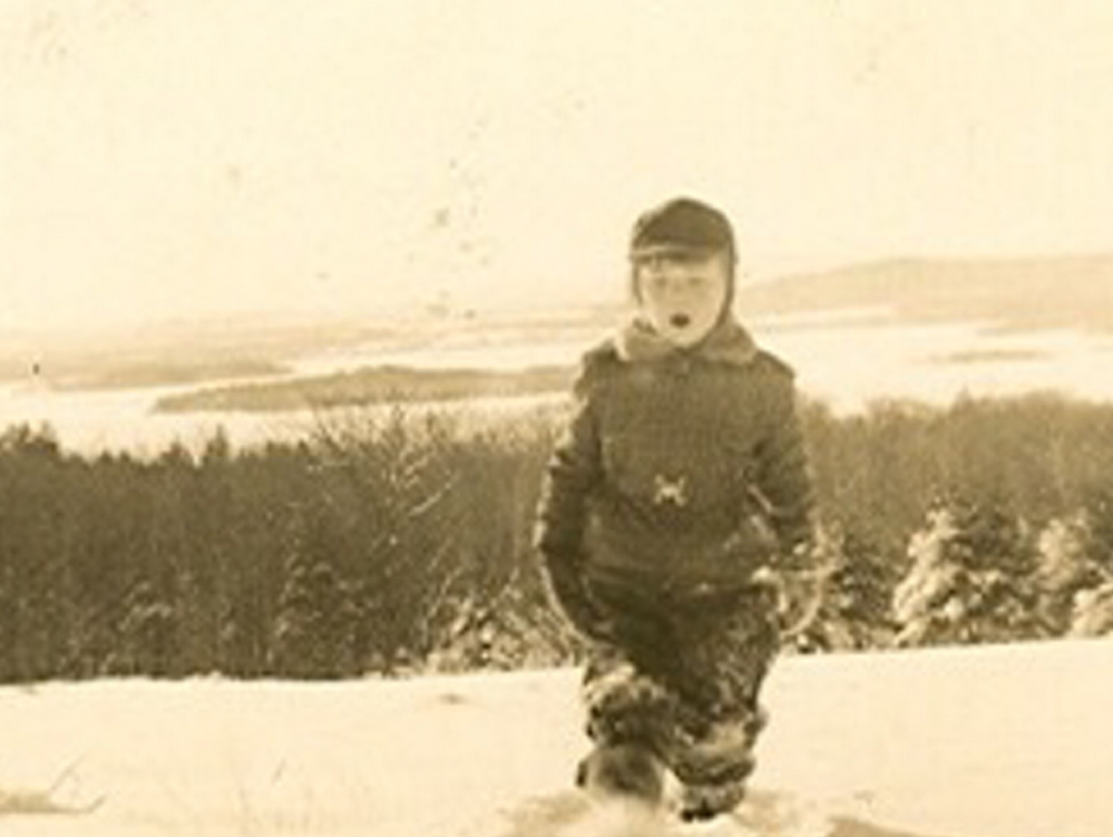 Left: A plane on the upper runway on Rosanne Graef's family land in Wayne in a photo likely from the 1990s. Right: Graef, as a child on family land, which has views of Lake Androscoggin and beyond.