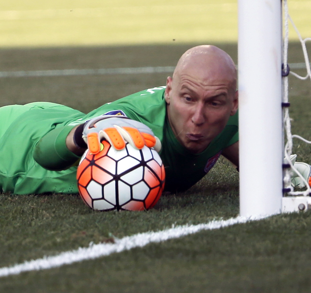 U.S. goalkeeper Brad Guzan makes a save Saturday against Panama in the third-place game at the CONCACAF Gold Cup in Chester, Pa. Panama won in a shootout after the teams played to a 1-1 tie through regulation and overtime.