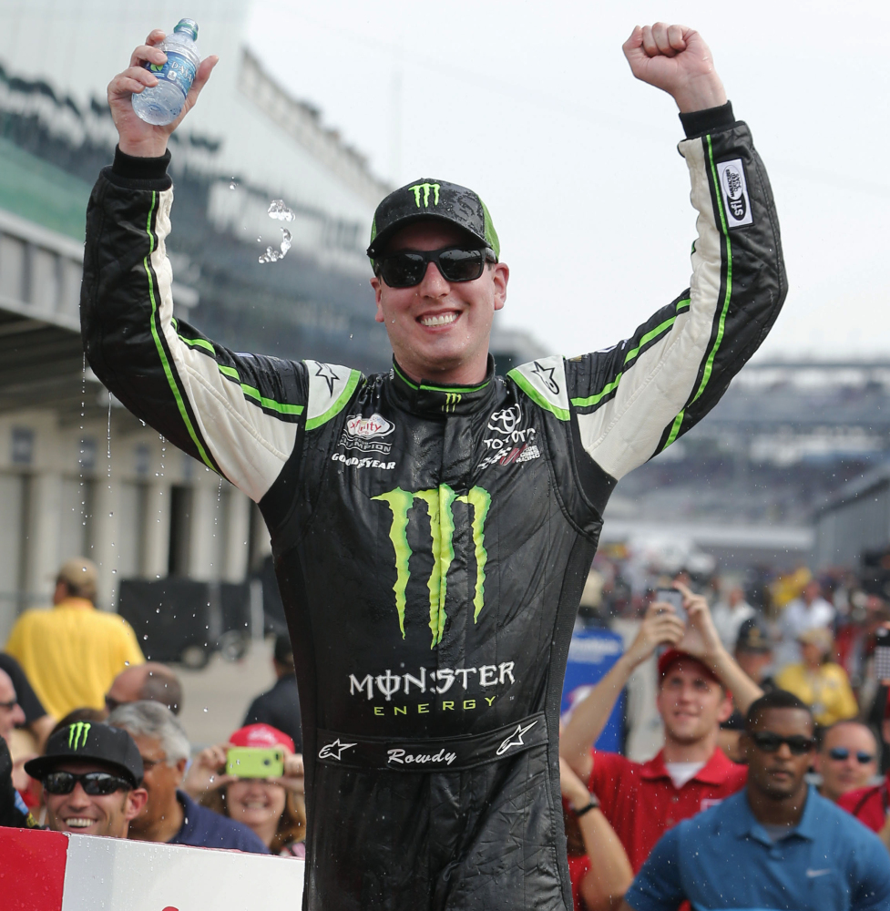 Kyle Busch celebrates Saturday after winning the Xfinity Series race with a last-lap pass at Indianapolis Motor Speedway.